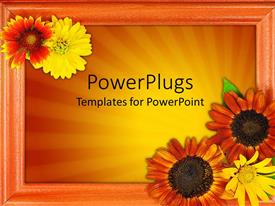 PowerPlugs: PowerPoint template with beautiful picture frame with lots of flowers on an orange background