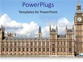 PowerPlugs: PowerPoint template with a beautiful picture of house of parliament with clouds