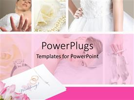 PowerPlugs: PowerPoint template with beautiful pink colored wedding collage with bride and ornaments