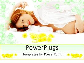 PowerPlugs: PowerPoint template with a beautiful pregnant lady showing her belly with floral background