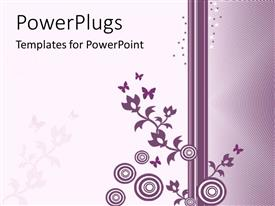 PowerPoint template displaying a beautiful purple colored floral design on a white and purple background