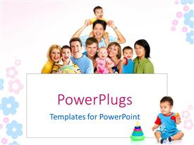 PowerPoint template displaying a beautiful representation of a family with kids and place for text