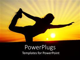 PowerPlugs: PowerPoint template with a beautiful representation of a female exercising early in the morning