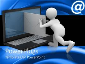 PowerPlugs: PowerPoint template with a beautiful representation of a figure trying to mail