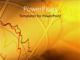 PowerPlugs: PowerPoint template with a beautiful representation of financial chart with golden background