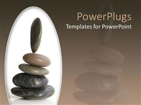 PowerPoint template displaying a beautiful representation of a group of zen stones place don each other
