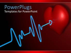 PowerPlugs: PowerPoint template with a beautiful representation of heart along with a heartbeat line