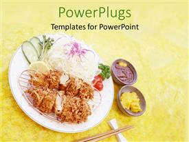 PowerPlugs: PowerPoint template with a beautiful representation of modern food along with chop sticks