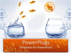 PowerPlugs: PowerPoint template with a beautiful representation of motivation through fishes jumping from one place to another