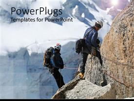 PowerPlugs: PowerPoint template with a beautiful representation of mountain climbers looking towards the same mountain