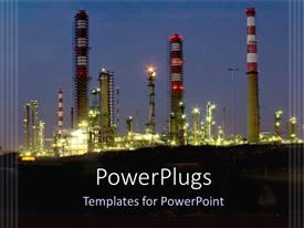 PowerPoint template displaying a beautiful representation of an oil refinery at night