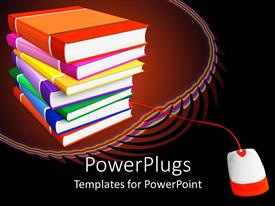 PowerPlugs: PowerPoint template with a beautiful representation of a pile of books along with a mouse
