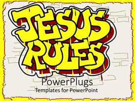 PowerPlugs: PowerPoint template with a beautiful representation of the words Jesus rules with white background