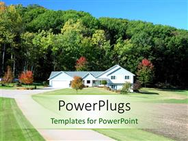 PowerPoint template displaying beautiful residential house with beautiful pathway and colorful trees
