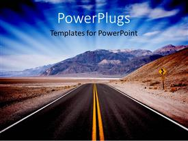 PowerPlugs: PowerPoint template with a beautiful road with mountains in the background