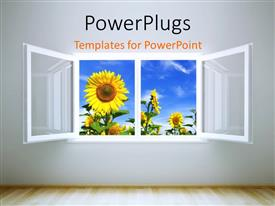 PowerPoint template displaying beautiful room with open window leading to sunflower field and cloudysky
