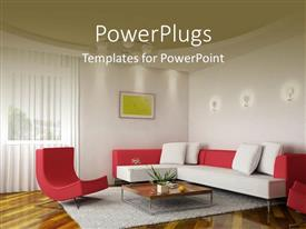 PowerPoint template displaying a beautiful room with a sofa and a table along with painting on the wall