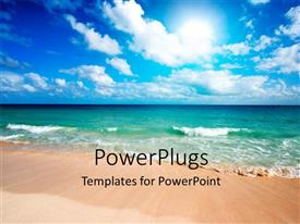 PowerPoint template displaying a beautiful scene of the sea from the beach