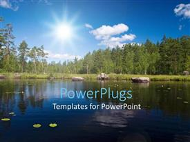 PowerPlugs: PowerPoint template with a beautiful scenery with lake, trees and sunshine in the background