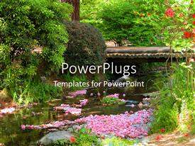 PowerPoint template displaying beautiful scenery of spring with blossoming flowers and leaves on water surface