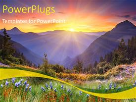 PowerPlugs: PowerPoint template with beautiful scenery of sunset over mountains and flower field