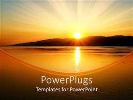 PowerPlugs: PowerPoint template with beautiful scenery of sunset over the mountains in the background and Baltic sea depiction