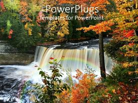 PowerPlugs: PowerPoint template with a beautiful scenery with water springs and trees in the background