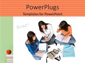 PowerPlugs: PowerPoint template with beautiful school kids solving special relativity equation with apple on books