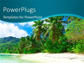 PowerPlugs: PowerPoint template with beautiful sea dream palms on a coastal shore
