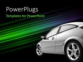 PowerPlugs: PowerPoint template with beautiful shining car against a colorful shiny stripes background