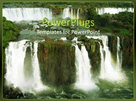 PowerPoint template displaying beautiful shot of Iguacu falls with water falling from rock