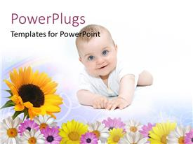 PowerPlugs: PowerPoint template with beautiful smiling baby crawling with sunflower on white background