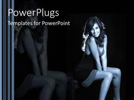 PowerPlugs: PowerPoint template with beautiful smiling woman seated in black dress with black background