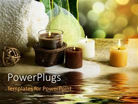 PowerPlugs: PowerPoint template with beautiful spa concept with candles, towels and water with bokeh in background