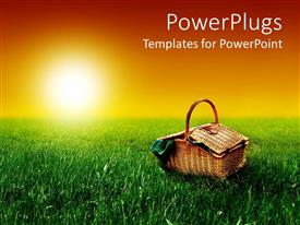PowerPlugs: PowerPoint template with a beautiful sunny day with a basket on the ground and sun in the background