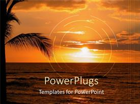 PowerPlugs: PowerPoint template with a beautiful sunset on a beach with date trees