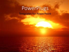 PowerPlugs: PowerPoint template with beautiful sunset in cloudy sky over sea surface