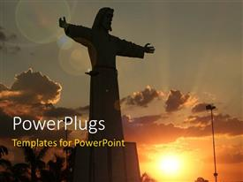 PowerPlugs: PowerPoint template with beautiful sunset in cloudy sky with silhouette of Jesus depicting resurrection