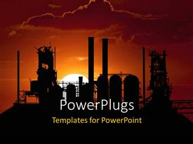 PowerPlugs: PowerPoint template with beautiful sunset on horizon with industrial plant and cloudy sky