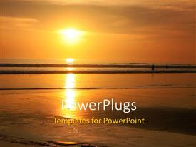 PowerPlugs: PowerPoint template with beautiful sunset in horizon over Bali beach with reflection in water