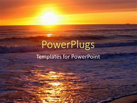 PowerPlugs: PowerPoint template with beautiful sunset on horizon over surface of sea and beach