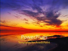 PowerPoint template displaying a beautiful sunset and an ocean with a lot of clouds
