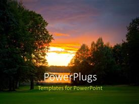 PowerPlugs: PowerPoint template with beautiful sunset over golf course beside lake with trees