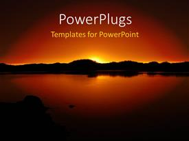 PowerPlugs: PowerPoint template with beautiful sunset over Island with reflection in water