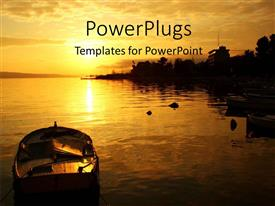 PowerPoint template displaying beautiful sunset over sea surface with boat