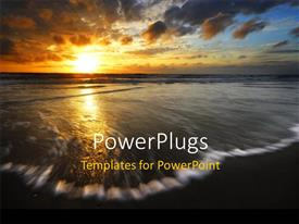 PowerPoint template displaying beautiful sunset over sea waves moving toward the beach