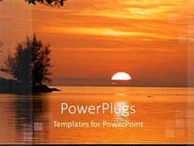 PowerPlugs: PowerPoint template with beautiful sunset over surface of sea with tree flourishing