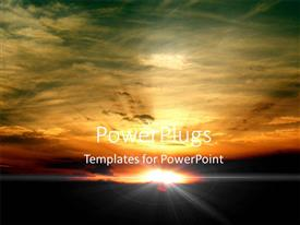 PowerPoint template displaying beautiful sunset with rays glowing and darkness
