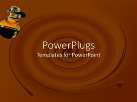 PowerPoint template displaying beautiful swirl of chocolate with black liquid in beaker