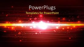 PowerPoint template displaying beautiful technology background with glowing particles
